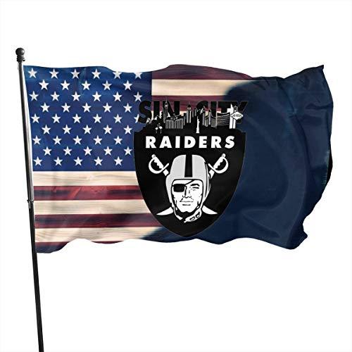 Jeewly 3x5 Fuß Las Vegas Raiders Sin City Flagge - Lebendige Farbe und UV-Lichtechtheit