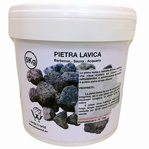 LordsWorld - Lava Stone - 5 kg Lavastein Für Grill, Sauna und Aquarium Dekoration - Lavagestein Für Grill und Gasherde - Pietralavica-5kg