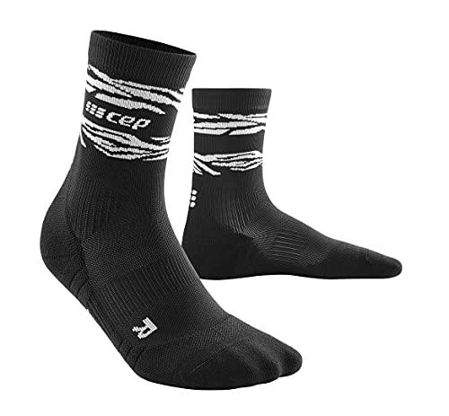 CEP – ANIMAL COMPRESSION MID CUT SOCKS für Damen | Sportsocken mit Kompression in schwarz mit weißer Tigermusterung | Größe II