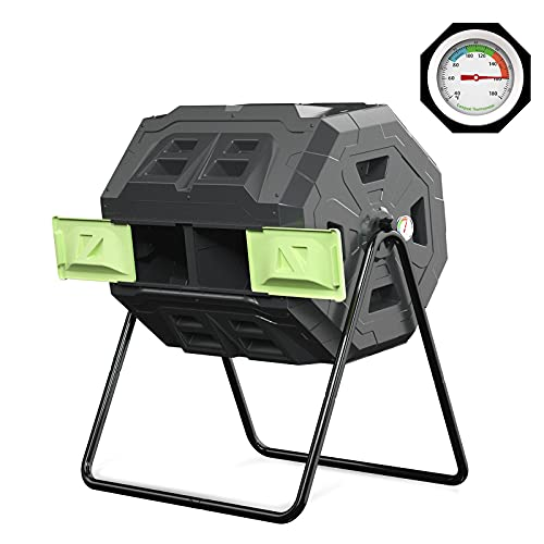 SQUEEZE master 43 Gallon Compost Tumbler Bin Outdoor Garden Rotating Composter with Removable Thermometer Green Door