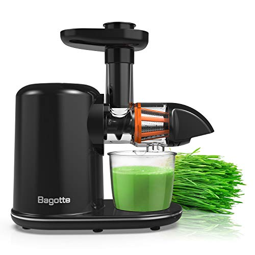 Masticating Juicer, Bagotte Slow Juicer Machines with Brush, Reverse Function, Easy to Clean, Cold Press Juicer Extractor, Quiet Motor, Juice Recipes for Vegetables and Fruits, BPA-Free