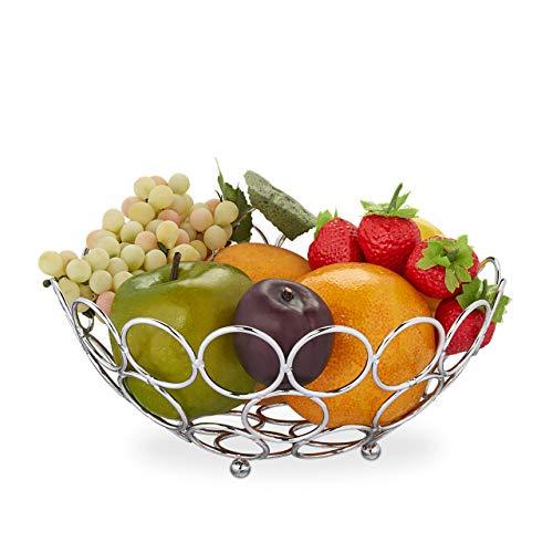 Relaxdays Obstschale, modernes Design, stehend, für Obst, Gemüse, Brot, rund, Obstkorb, Metall, HxD: 9 x 22,5 cm, silber