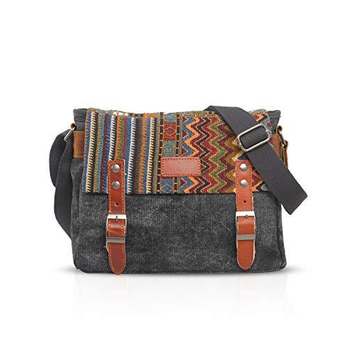 FANDARE Retro Umhängetasche Herren/Damen Business Commuter Crossbody Bag Outdoor Reisen Große Kapazität Messenger Tasche Atmungsaktiv Leinwand Grau