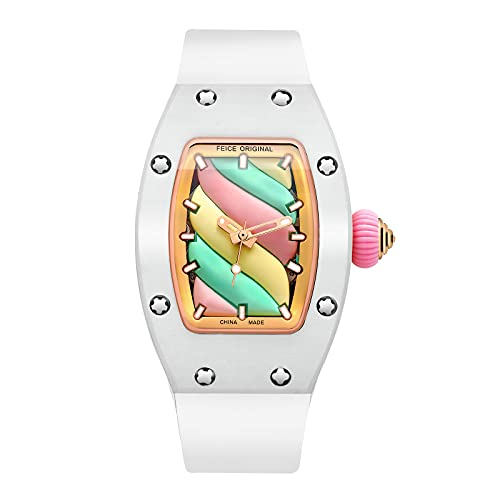 FEICE Women's Automatic Wrist Watch Fashion Skeleton Mechanical Watch Luminous Waterproof Wristwatch for Ladies FM606 (White)