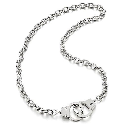 COOLSTEELANDBEYOND Cadena Enlace Esposar Collar de Hombre Mujer, Cadena Barbada, 68CM, Punk Rock