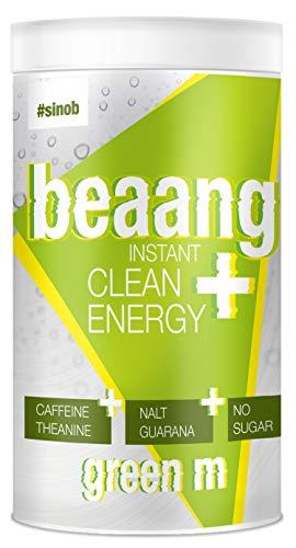 sinob BEAANG Instant Clean Energy Drink Pulver - Saurer Apfel - 1 x 300g mit Koffein, Theanin, NALT, Guarana und alle 8 EAAs. 100% Vegan und Ohne zugesetzten Zucker, Gluten oder Laktose