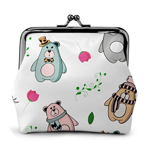Portamonete Orso Orsacchiotto Orso polare Foglia di foresta Fibbia Portamonete in pelle Portamonete Mini portafoglio per donna Portafogli con cambio bacio-lock
