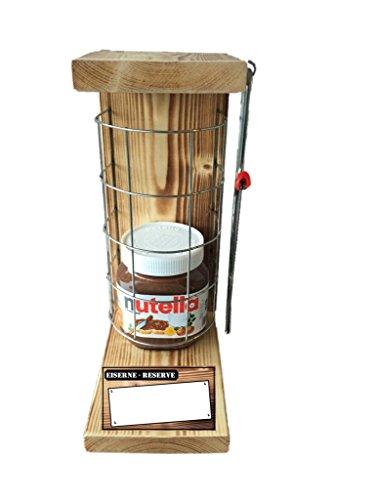 """""""Neutral zum Beschriften """" Eiserne Reserve mit Nutella 450g Glas incl. Säge zum zersägen des Gitter - Geschenk für Männer- Geschenk für Frauen - ."""