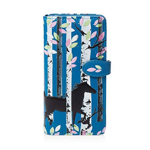 SHAGWEAR ® Portemonnaie Geldbörse Damen Geldbeutel Mädchen Bifold Mehrfarbig Portmonee Designs: (Waldpferd/Forset Horse)