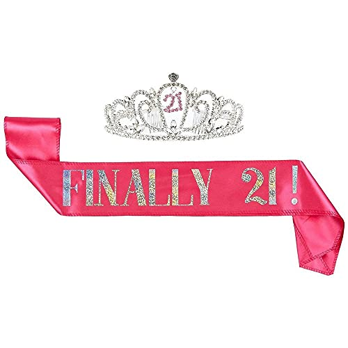 21th Birthday Tiara and Sash - Finally 21 Pink Glitter Satin Sash and Rhinestone Crown Tiara Set for Gift Party Supplies and Decorations