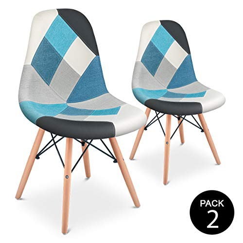 Mc Haus SENA Patchwork - Pack 2 Sillas comedor vintage patchwork tower multicolor azul diseño tapizado sillas salon estilo retro diseño tower 49x46x84cm