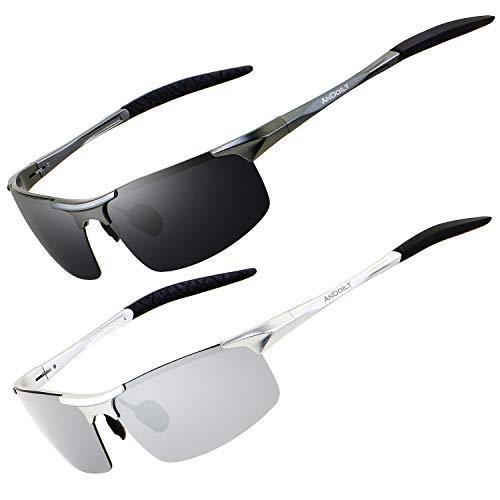 ANDOILT Gafas de Sol Polarizadas para Hombre Deportivas Protección UV Súper Ligero Al-Mg Marco De Metal Gris Marco Gris Lente Plateado Marco Plateado Lente