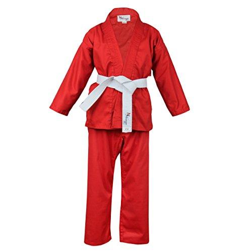 Norman Rot Kinder Karate-Anzug Gratis Weißer Gürtel Kinder Karate-Anzug - 100cm