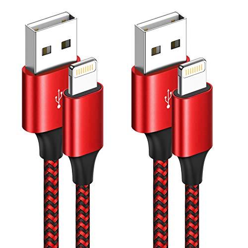 Cavo iPhone, [2Pack 2M] Caricabatterie iPhone Certificato MFi Carica Rapida Nylon Cavo Lightning per iPhone 11/11 PRO/X/XS/XS Max/XR/8/8 Plus/7/7 Plus/6s/6s Plus/6/6 Plus/5c/5s/5, iPad, iPod - Rosso