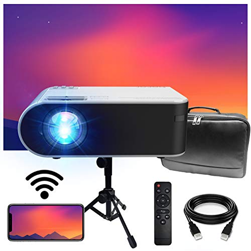 WiFi Mini Projector, BACAR 6000 Lumens WiFi Projector [Projector Screen and Tripod Included], 1080P and 200'' Display Supported, Compatible with TV Stick, HDMI, VGA, USB, Laptop, iOS & Android