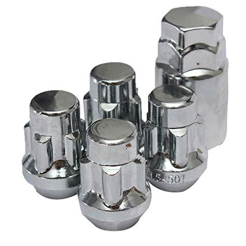 Vokmon 4PCS con Tratamiento térmico de Acero de 12 x 1,5 mm Llanta de aleación de Tuercas de fijación 60 ° + 1PCS Seguridad Tornillos y Llave antirrobo