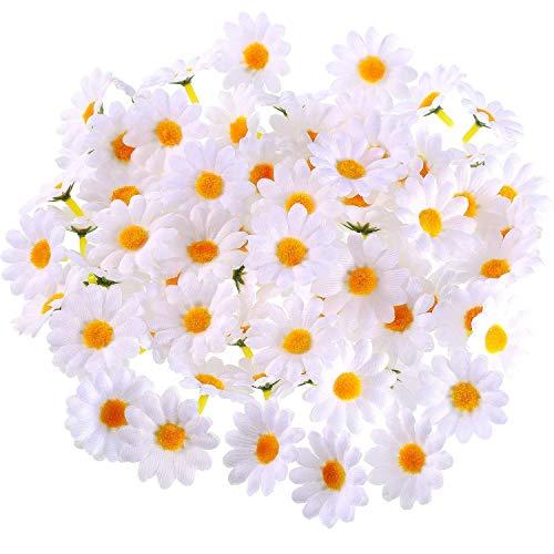 Yiyiter 200 stuks kunstbloemen daisy bloemen hoofden stof daisy bloemen knutselen voor vakantie decoratie party bruiloft huis