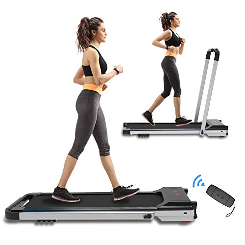 CIIHI C Portable Treadmill for Small Spaces Foldable Under Desk Compact for Home Office Apartment Electric Walking Machine with Safety Key Remote Control and 2 Wheels