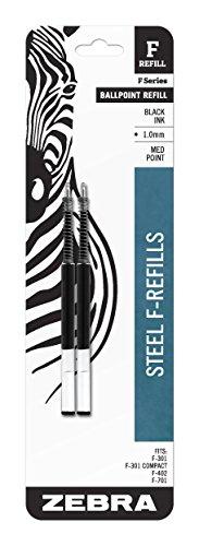 Zebra Pen F Refill, 1mm, Black, 2 Pack