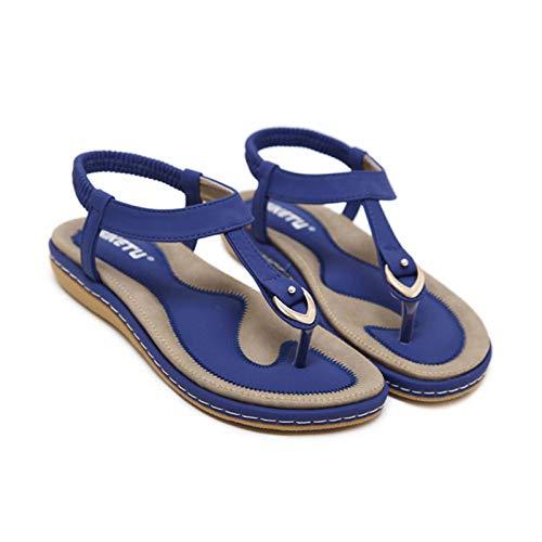 Kamendita Women's Sneakers, Women Breathable Crystal Flip Flop Elastic Band Sandals Casual Boho Flat Sandals Walkings Shoes Blue