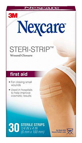 Nexcare Steri-Strip Wound Closure, Secures and closes small cuts and wounds, Alternative to Butterfly Bandages, 1/4 Inch x 4 Inch, 30 Count