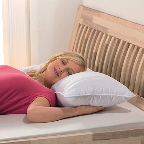 Bestlivings Almohada de alta calidad de 40 x 80 cm (núcleo de muelles ensacados) con funda de 100% algodón, cojín de confort, con cojín interior de tres capas.
