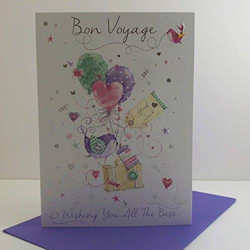 Bon Voyage Good Luck koffer ballonnen & vogel ontwerp moderne wenskaart