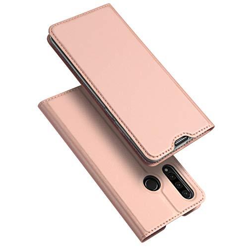 DUX DUCIS Hülle für Huawei P30 Lite, Huawei P30 Lite New Edition Hülle, Leder Flip Handyhülle Schutzhülle Tasche Hülle mit [Kartenfach] [Standfunktion] [Magnetverschluss] (Rose Golden)