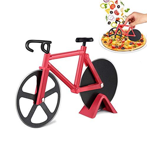 Tagliapizza per bicicletta tagliapizza, interessante piano cottura per pizza in acciaio inossidabile, tagliapizza con ruote affilate in rivestimento antiaderente (rosso)
