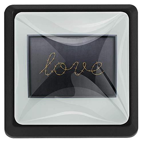 EZIOLY Love Gallery Möbelknöpfe, quadratisch, für Küchenschränke, Schränke, Kommode, Schrankknöpfe, Schubladengriffe, Hardware, 3 Stück