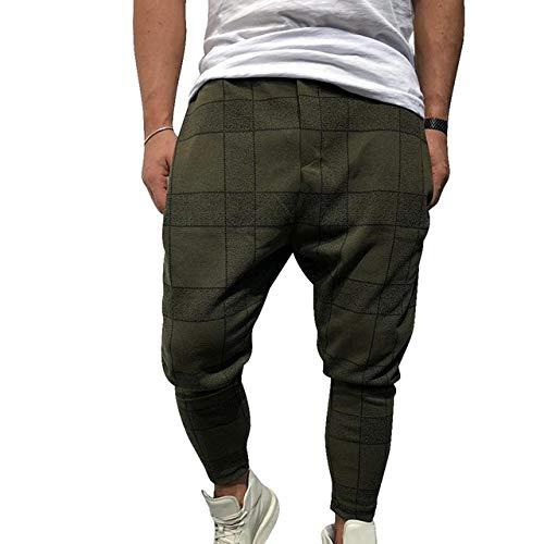 N/ A Pantalones de Moda Casual para Hombres Pantalones de Cuadros Sueltos Pantalones de harén Ocasionales Impresos Pantalones de Golf Ocasionales