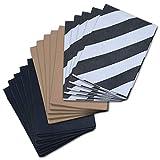 Psithurism - Premium Grade Kraft Wrapping Paper Set - Flat, Folded, Assorted - Brown, Black, Black/White Striped - 40' x 30' Sheets - Set of 15