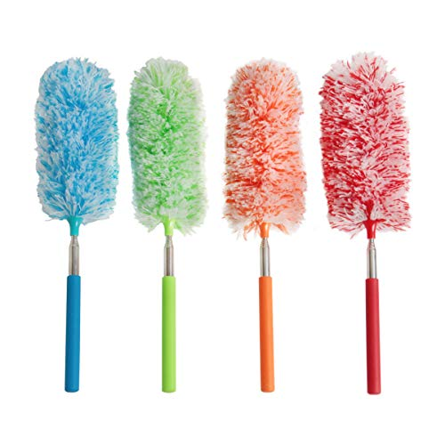 Ira Pollitt 4 Pcs Microfiber Duster, Microfibre Hand Duster Washable Dusting Brush Cleaning Tool Extendable Dusters for Cleaning Home Office,Car, Computer, Air Condition, Washable Duster