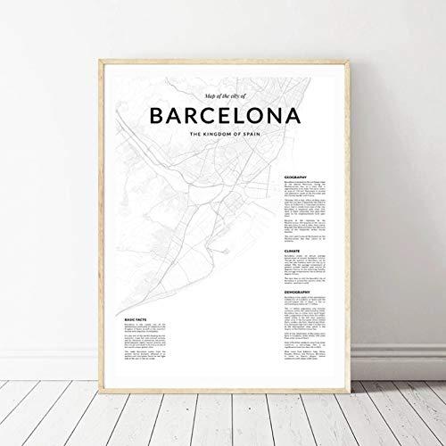 N/A Mapa de la Ciudad de Barcelona, Pintura en Lienzo Moderna, Carteles nórdicos e Impresiones, imágenes artísticas de Pared para la decoración del hogar de la Sala de Estar española