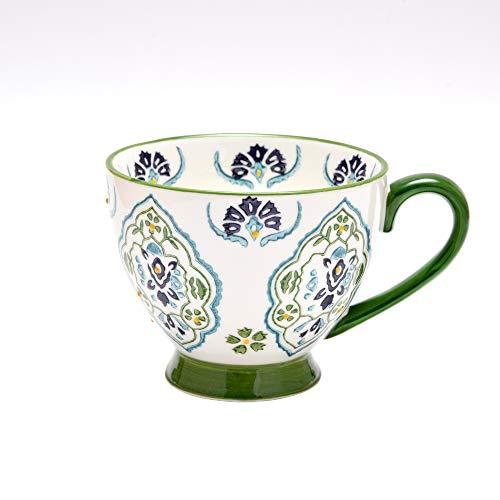 Petit Bonheur Tasse à Café en Céramique Dessiné à la Main Service pour Le Petit Dejeuner en Relief 450ML (04)