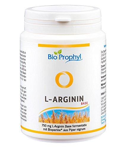 BioProphyl® L-Arginin Base mit 750 mg rein pflanzlichem L-Arginin ohne HCL mit Bioperine® - aus fermentativer, deutscher Herstellung - 120 pflanzliche Kapseln