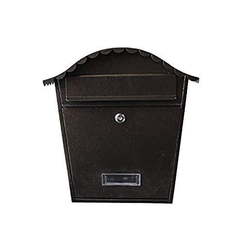 Shengluu Parcel Box Post Box Mailboxes Steel Letter Mail Post Box Wall Mountable Lock Black