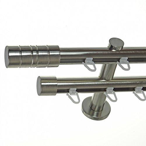 BASIT Innenlauf Gardinenstange Edelstahl Look 20mm Wandträger 2-läufig Zylinder, Länge wählbar H40 E34E30, Länge:180 cm