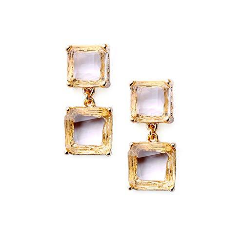 tjz Pendientes Cuadrados De Cristal Transparente con Diamantes De Imitación Antiguos, Chapados En Oro, Geométricos, Grandes Pendientes Colgantes Cuadrados De Cristal Vintage para Mujer