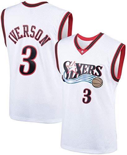 Maglie NBA da Uomo - 76Ers 3# Maglia da Basket Allen Iverson NBA - T-Shirt Sportiva da Basket Senza Maniche Traspirante per Il Tempo Libero,1,XXL (185~190CM/ 95~110KG)
