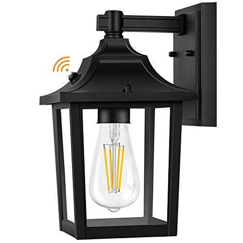 PARTPHONER Outdoor Light Fixture Wall Mount, Dusk to Dawn Sensor Porch Light Wall Sconce E26 Socket, Exterior Wall Lantern, Waterproof Anti-Rust Wall Light with Clear Glass Shade for Entryway, Garage