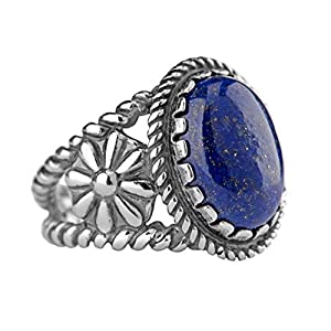 American West Sterling Silver Lapis, Malachite, Turquoise, Coral or Spiny Oyster Gemstone Ring Size 5 to 10