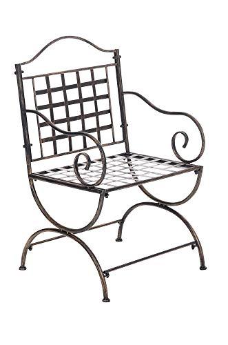 Chaise De Jardin Lotta en Fer avec Accoudoirs | Chaise De Balcon Fabriquée A La Main en Métal | Chaise De Terrasse De Style Antique Nostalgique, Couleurs:Marron Clair