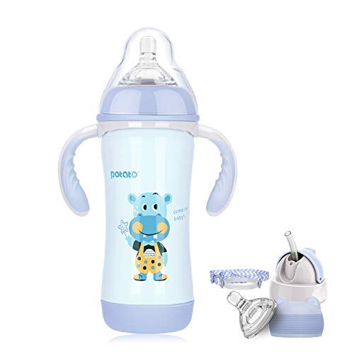 POTATO Baby Thermos Cup Water Bottle for Kids, 8 oz Stainless Steel Sippy Cup with 3 Kinds of Lids, Cartoon Thermos Vacuum Flask Keeps Cold for 8 Hours, Purple