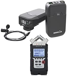 Rode Microphones RODELink Digital Wireless System - Includes TX-BELT Transmitter, RX-CAM Wireless Receiver, Lavalier Microphone, Captive TRS Cable - With Zoom H4n Pro Handy Mobile 4-Track Recorder