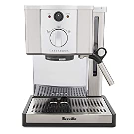 Breville ESP8XL Cafe Roma Stainless Espresso Maker 2 Stainless-steel espresso machine with 15-bar thermoblock pump Dual-wall filter system for excellent crema; froth enhancer, cup-warming plate Accesories: Stainless steel frothing pitcher Tamping tool/measuring spoon/cleaning tool