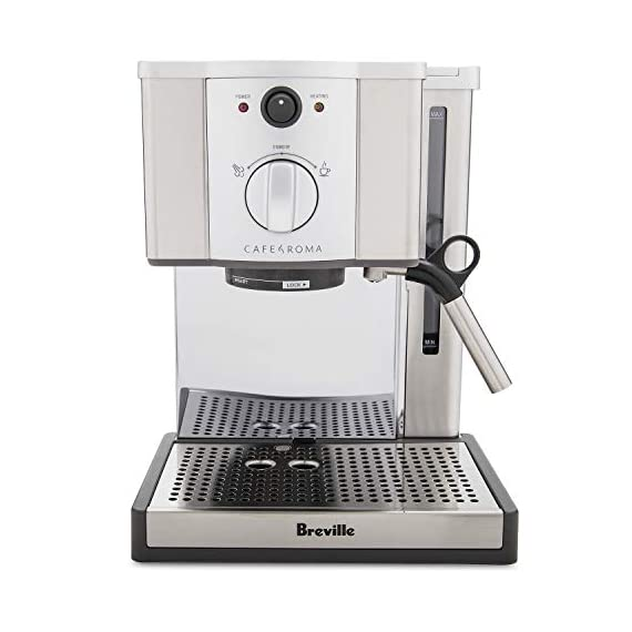 Breville esp8xl cafe roma stainless espresso maker 1 stainless-steel espresso machine with 15-bar thermoblock pump dual-wall filter system for excellent crema; froth enhancer, cup-warming plate accesories: stainless steel frothing pitcher tamping tool/measuring spoon/cleaning tool