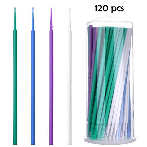 Loscrew Farbtupfer Pinsel fein Farbtupfer Autos Miniatur-Wattestäbchen Zur Reparatur von Lackschäden an superfeinen, feinen, normalen (4 Größen, 1,0 mm bis 2,5 mm, insgesamt 120 Stück