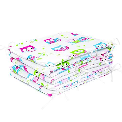 Amilian® Bettumrandung Nest Kopfschutz Nestchen 420x30cm, 360x30cm, 180x30 cm Bettnestchen Baby Kantenschutz Bettausstattung Eule weiß (360x30cm)