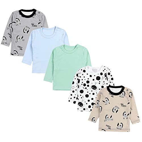 TupTam Camiseta Manga Larga para Bebé Niño, Pack de 5, Multicolor 8, 92
